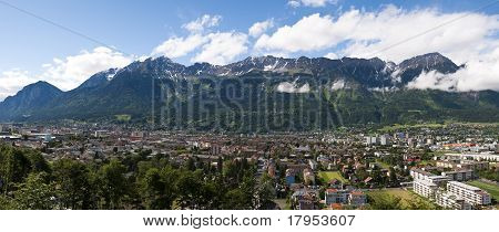 Panoramic view of the city of Innsbruck and the Alps