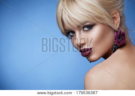 Beauty Face Woman With Beautiful Make-up Color .