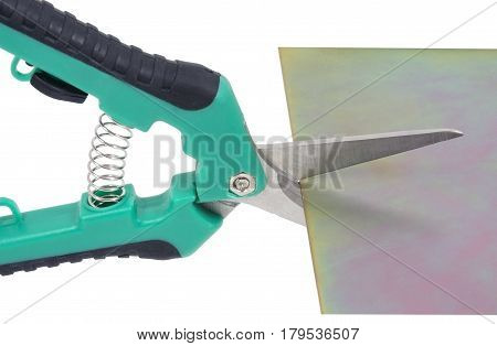 Cutting steel stud with tin snip cutter poster