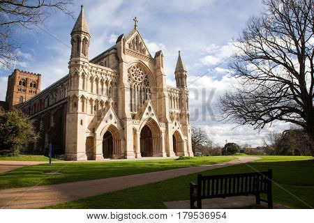 St Albans Cathedral on sunny day