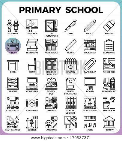 Primary School Icon Set