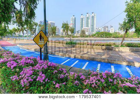 Cityscape of Benchakitti park green lung of Bangkok Thailand