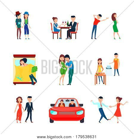 Colored and isolated wife husband responsibilities icon set with couple in love is responsible vector illustration