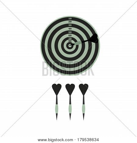 Darts and gray pawns on a white background.  Darts and gray pawns on a white background.