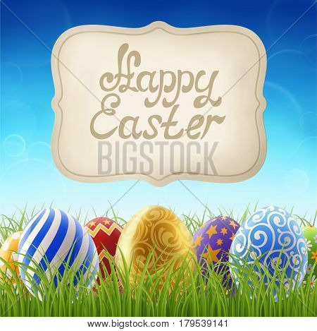 Background for easter holiday painted easter eggs on the grass on the background of clear blue sky and banner with greeting. EPS 10 contains transparency.