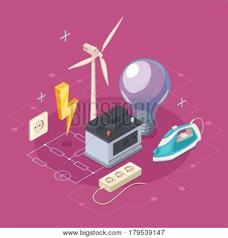Electricity isometric concept with socket and domestic appliances symbols vector illustration