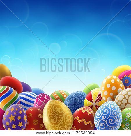 Background for easter holiday painted easter eggs on the background of clear blue sky. EPS 10 contains transparency.