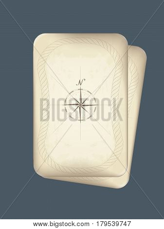 vector drawing of a compass on old parchment. frame made of rope. brown. a template with rounded corners