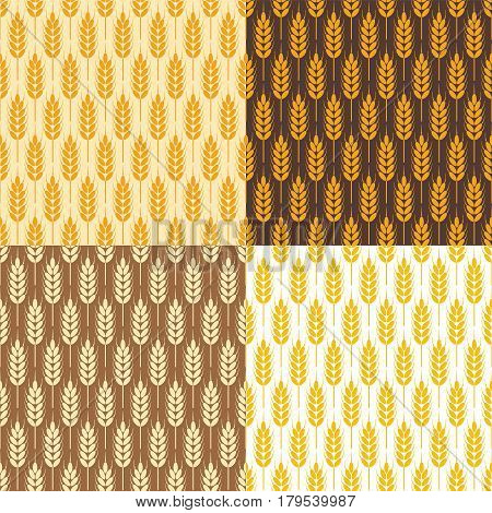 vector collection of seamless repeating wheat background patterns abstract food ornament