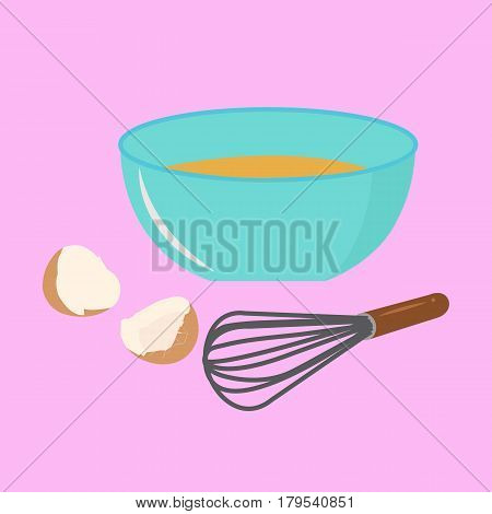 Beat the eggs on a pink background.