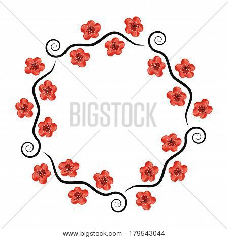 vector decoration pattern of cherry branches with blossom isolated on white background spring sakura flowers