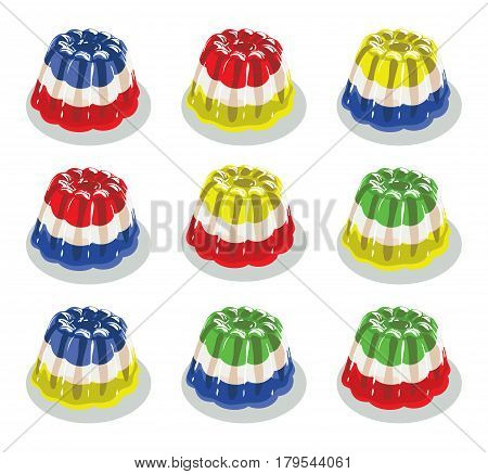 vector colorful gelatin jelly or pudding assortment isolated on white background dessert candy jello set bright colors flat illustration poster