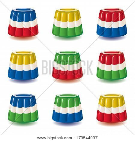 vector colorful gelatin jelly or pudding assortment isolated on white background dessert candy jello set bright colors illustration