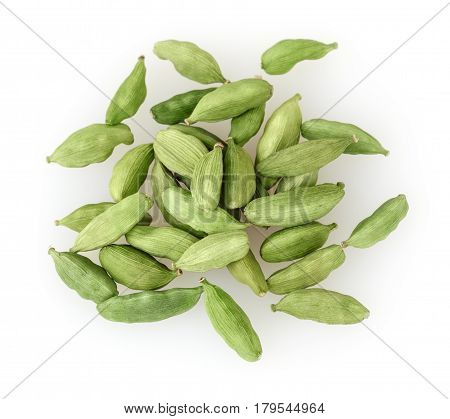 Close up of green cardamon isolated on white background