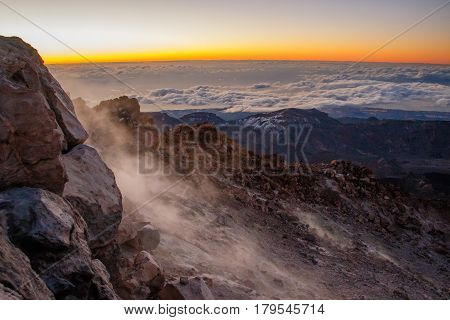 One freezing cold Morning at the top of Pico del Teide, Tenerife