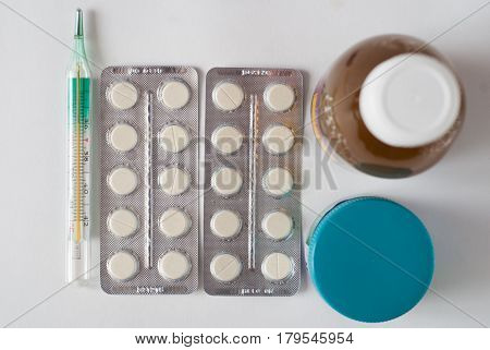 Set For Flu Treatment, Thermometer,