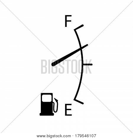 Fuel indicator , Image of a gas gage on white background.