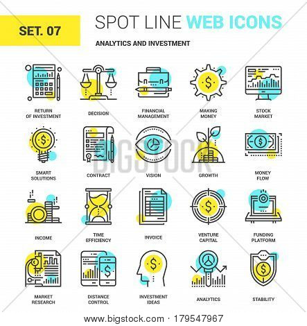 Vector set of analytics and investment spot line web icons. Each icon with adjustable strokes neatly designed on pixel perfect 64X64 size grid. Fully editable and easy to use.