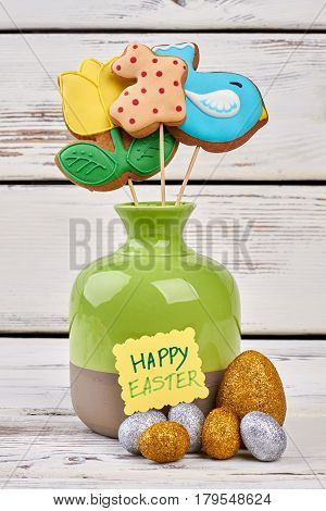 Easter biscuits and crafts. Sparkly eggs and greeting card.