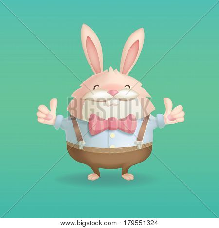 A funny cartoon funny hare lifts his fingers happily. A vector illustration.