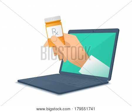 Computer doctor's hand holding orange container. Medic through the laptop screen giving the drug cure to patient. Tele online remote medicine concept. Vector flat isolated illustration on white.