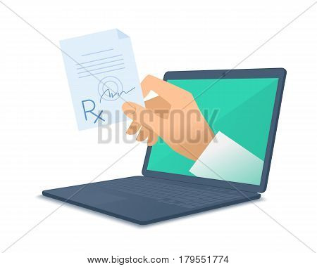 Computer doctor's hand holding rx. Medic through the laptop screen giving the prescription to patient. Tele online remote medicine concept. Vector flat isolated illustration on white background.