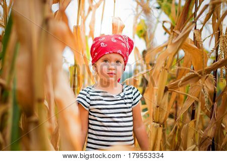 Dirty Child In Red Bandana And Stripe Tee In The Cornfield. Dry Corn