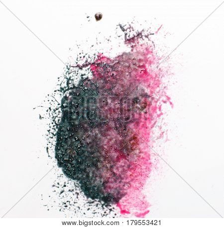 Creative abstractionism, modern art painting. Mixed pink and black colors with sparkling glitter on white background.