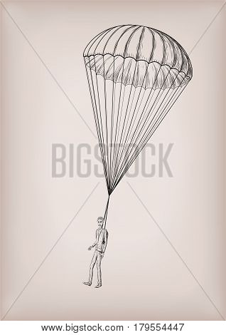 Parachute chute brolly or guardian angel with men person fly flying. Vector closeup vintage old school illustration hand drawn in black line