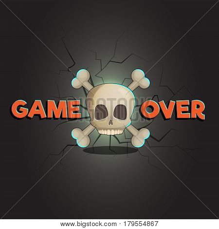 Game over abstract vector game and web background, scull and bones. Loose game fail screen with cracks and decay on background.