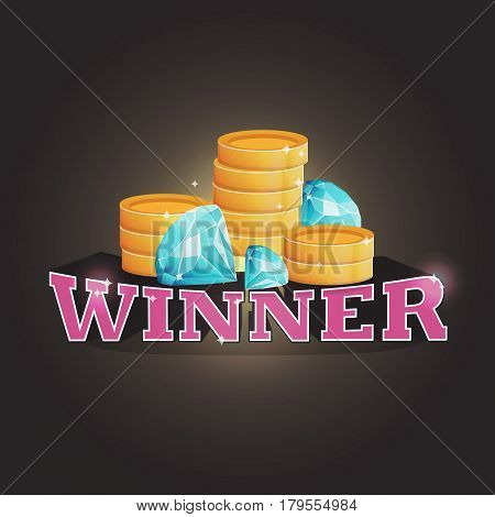 Winner screen vector background with coins and diamonds. Lottery, computer game, treasure quest, promotion coupon winner advertisment.