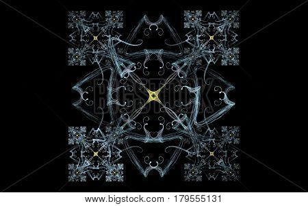 Ornate symmetrical pattern of gray lines repeating in miniature for four corners of the composition with a yellow star in the center with curls on a black background.