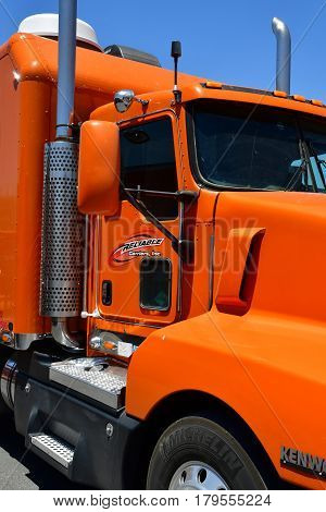 USA - july 11 2016 : big orange truck in the Furnace Creek ranch in the Death Valley National Park