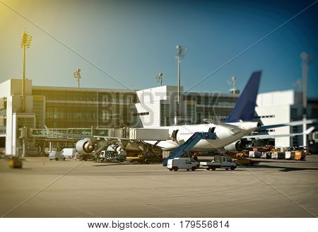 Passenger Plane Refueling In The Airport. Aircraft Maintenance.