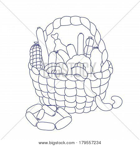 Basket with sausage on a white background. The handwritten sketch drawn with a brush. A design element for cookery