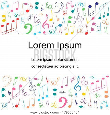 Colorful Hand Drawn Different Music Symbols. Doodle Treble Clef Bass Clef Notes and Lyre. Template with Place for Text in Center. Vector Illustration.