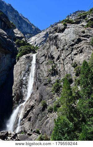 USA - july 12 2016 : waterfall of the Yosemite National Park