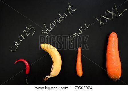Fruit Vegetable Phallus Shape Banana Carrot Pepper Penis Size Crazy Standard Small XXXL Concept