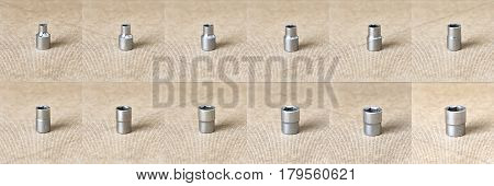 Hex head 6-17 set. Hex head for screwdriver. To tool loosening screws bolts and nuts. Picture for illustration a collage.