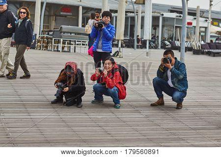 Tel Aviv - 20 February 2017: Group Of Photographers In Israel During Purim Celebration