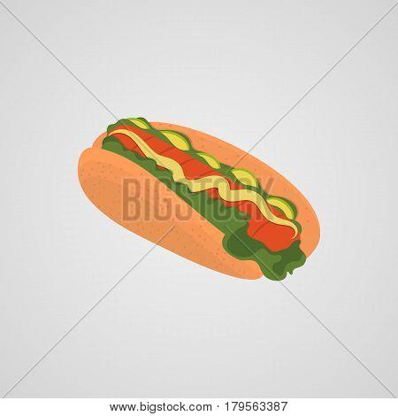 Hotdog illustration fast food - vector eps  10