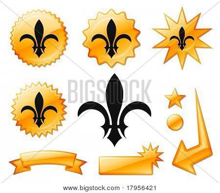 Fleur De Lis ikon a narancssárga tört szalagok és érmek eredeti vektoros illusztráció