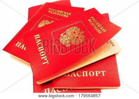 Russian foreign passports isolated on white background