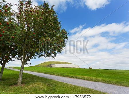 Historical archaelogical Newgrange monument in countryside Ireland.