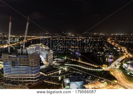 GOLD COAST, AUSTRALIA - MARCH 31 2017: Gold Coast aerial nightscape with views  of Jupiters Casino re-development in Broadbeach and surrounds