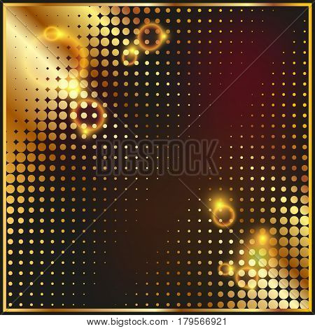 Halftone pattern gold background texture round spot shapes vintage or retro graphic usable as decorative element.