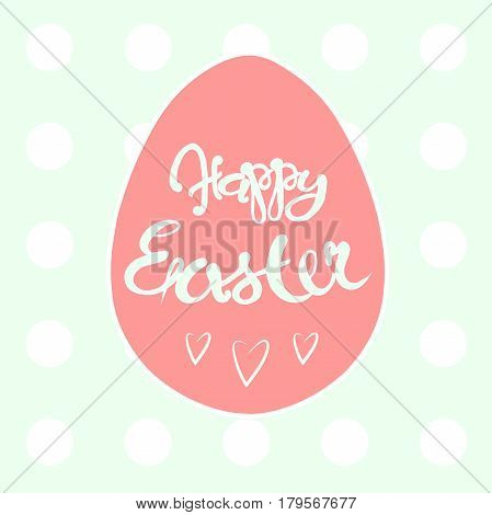 Typography banner Happy Eastern, pink egg on light green stock vector illustration