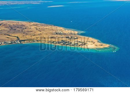 View from the airplane to the coast near Hurghada Egypt.