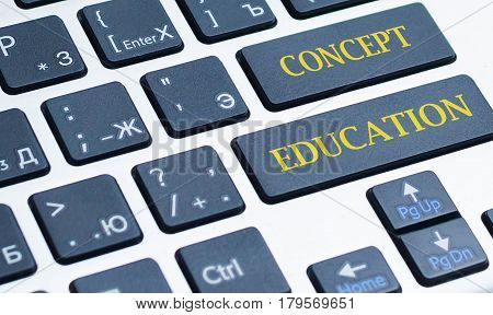 Education concept: computer keyboard with word Education selected focus on enter button 3d render