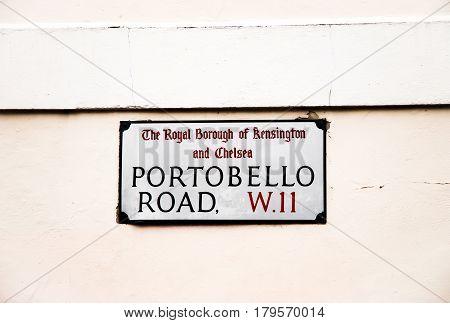 portobello road sign in london united kingdom